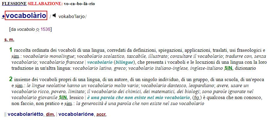 voce vocabolario