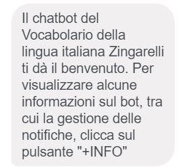chatbot Zingarelli 1